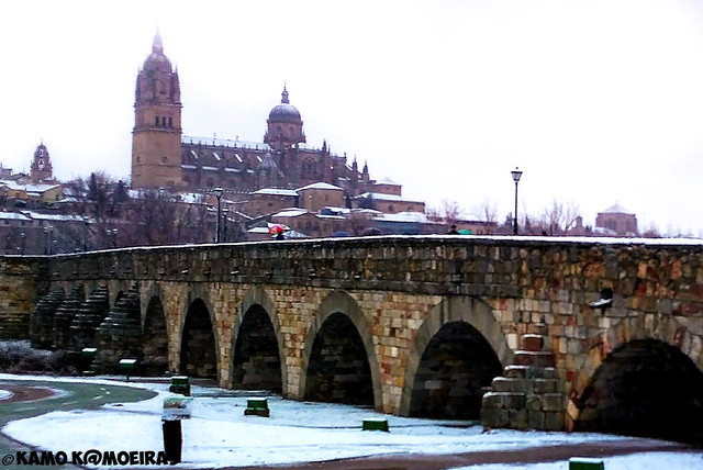nieve, puente romano