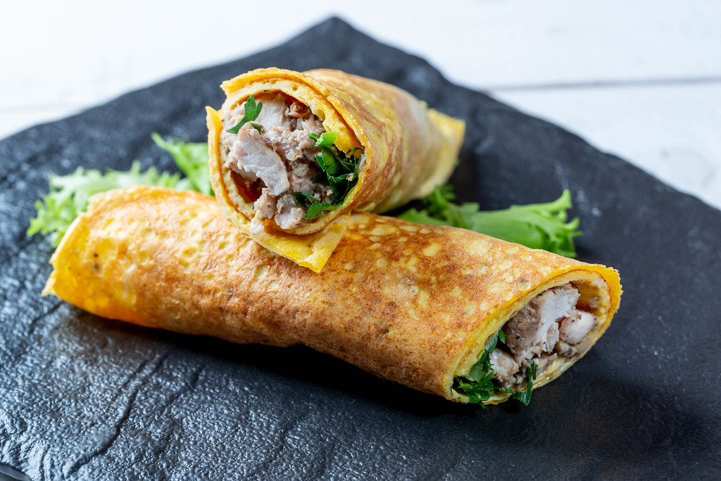 Egg omelet with meat and herb filling | ✅ Marco Verch is a P ...