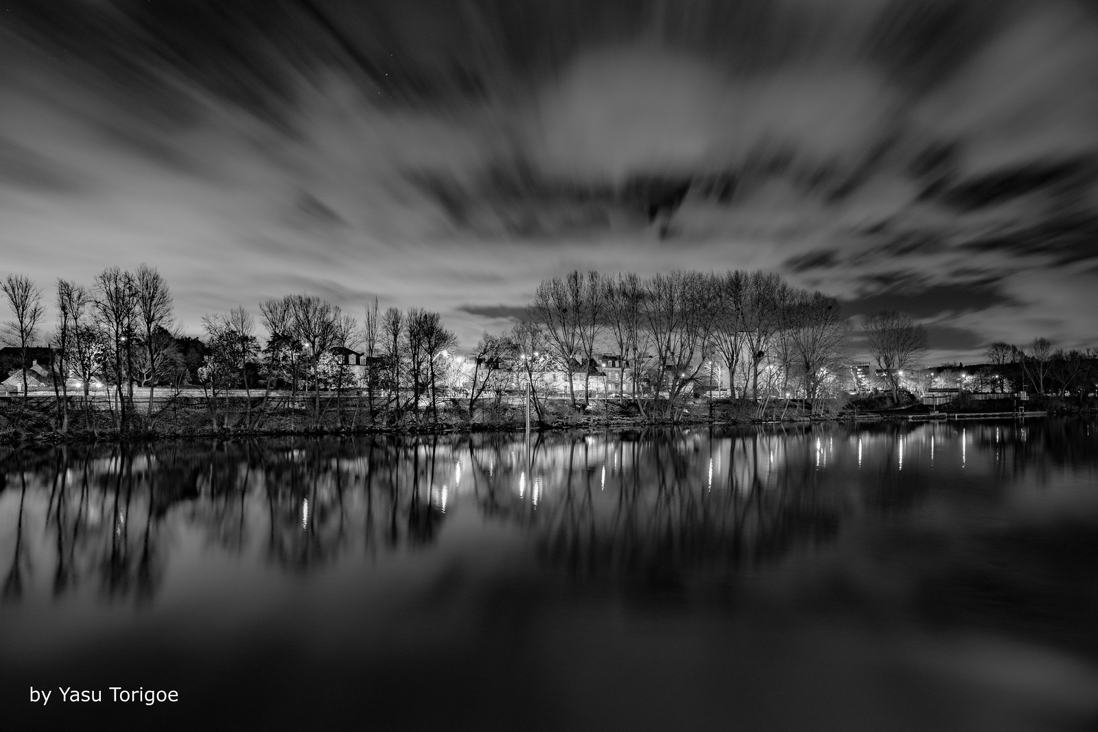 Black & White Night View of the Right Bank of the Seine River in Le Pecq, France (Bright Light from the City of Paris)-9
