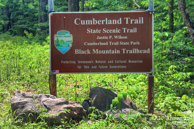Justin P. Wilson Cumberland Trail State Park sign - Crab Orchard, Tennessee