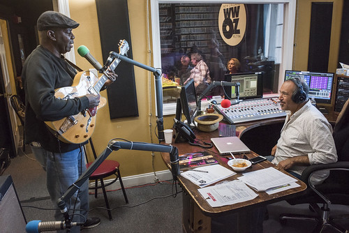 Detroit Brooks on air with Marc Stone at WWOZ's 38th birthday - 12.4.18. Photo by Ryan Hodgson-Rigsbee rhrphoto.com.