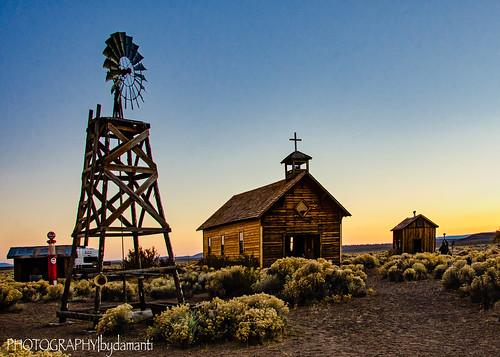 fortrock oregon unitedstates us stbridgetchurch church windmill sunset