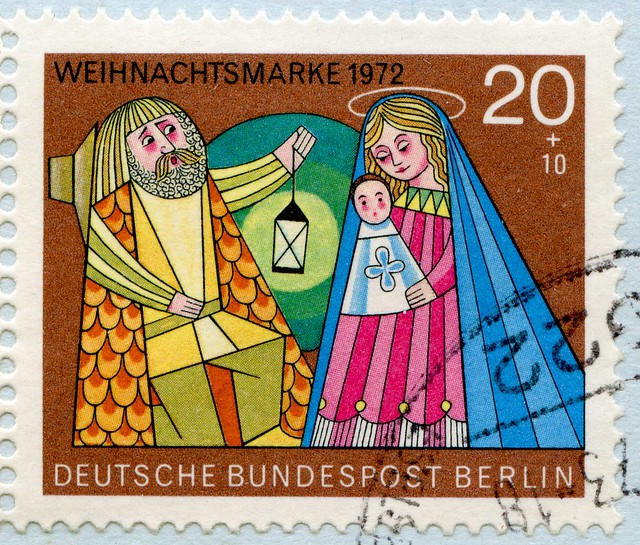 great xmas stamp Germany Berlin 20+10pf. (Holy Family, Die Heilige Familie, Sainte Famille, Sagrada Familia, 圣家, Sacra Famiglia, Святое семейство, Szent Család, Sveta obitelj) pfennig charity stamp Germany Berlin Holy Night noel timbres Allemagne  우표 독일 유