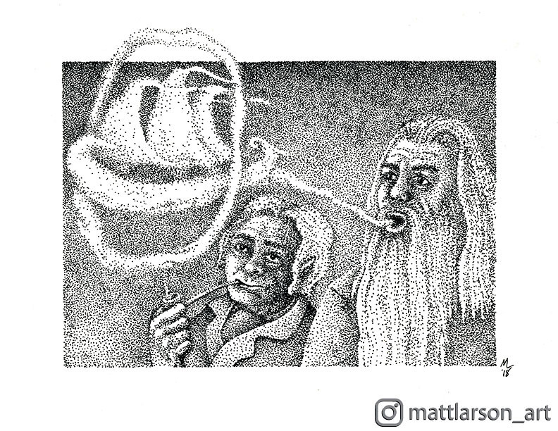 Gandalfs Smoke Ship Gandalf And Bilbo Enjoying Their Pipe Matt