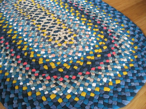 New Ready To Ship Denim / Teal Oval Braided Rug