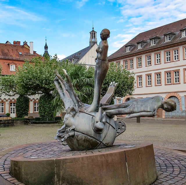 Germany, Heidelberg, Karlsplatz... Sebastian Münster Fountain by Michael Schoenholtz