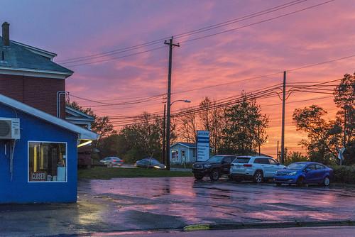 sunsetcolours sunset colours evening industry parkinglot utilitypoles trees schoolstreet kingsroad cbrm capebretonregionalmunicipality canada novascotia capebreton sydney sigma1750mmf28exdcoxhs nikond7100 201810219618