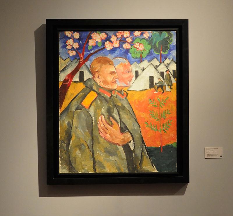 Наталия Сергеевна Гончарова. Портрет М.Ф.Ларионова и его взводного (1911)