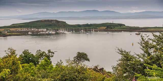 Islands of Kerrera and Lismore, Loch Linnhe, Firth of Lorn and Morvern Hills from Pulpit Hill, Oban.