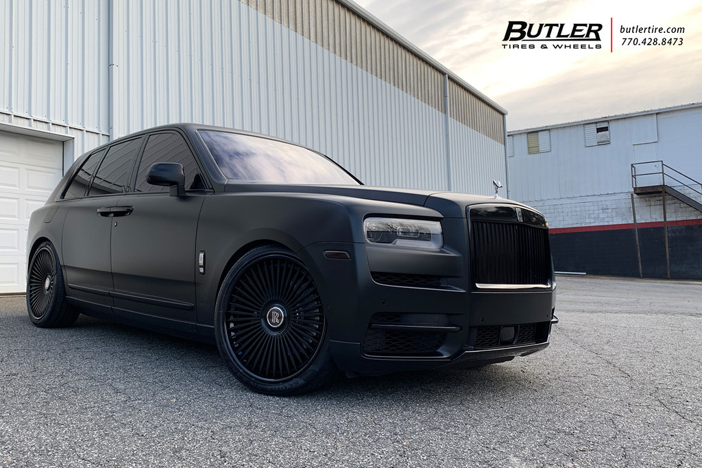 Satin Black Lowered Rolls Royce Cullinan With 24in Ag Luxury Agl45 Wheels And Pirelli Tires A Photo On Flickriver