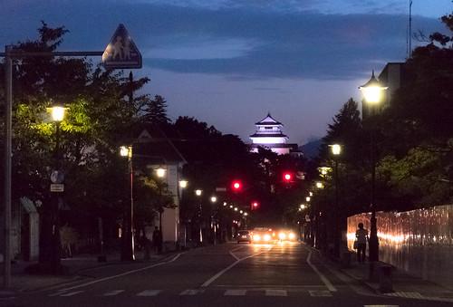 sunset street night castle aizuwakamatsu fukushima lights town city tsurugajyo