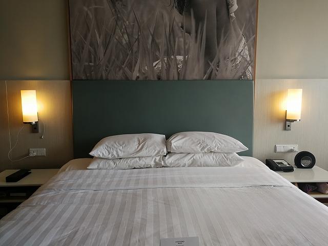 <p>マリオットのベッドは気持ちいい!</p>