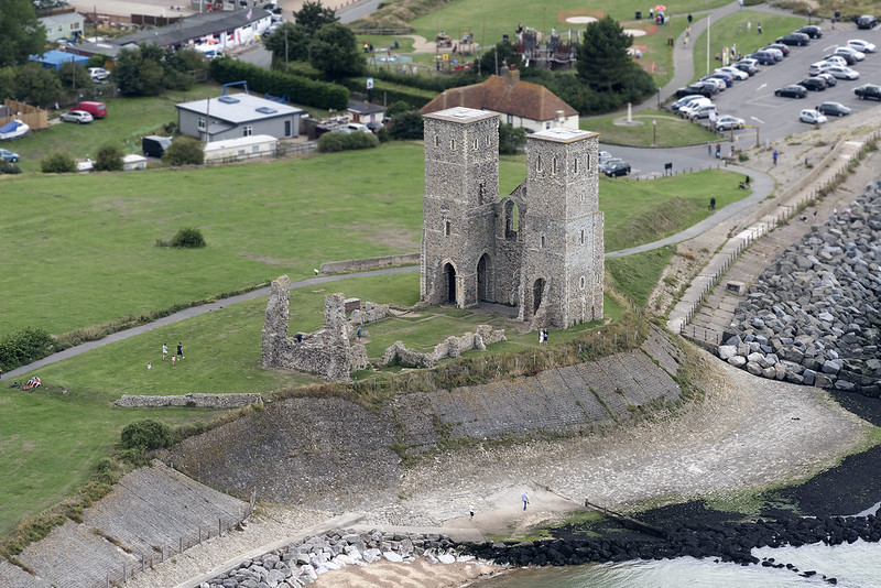 The 12th century Reculver Towers in Kent - aerial image