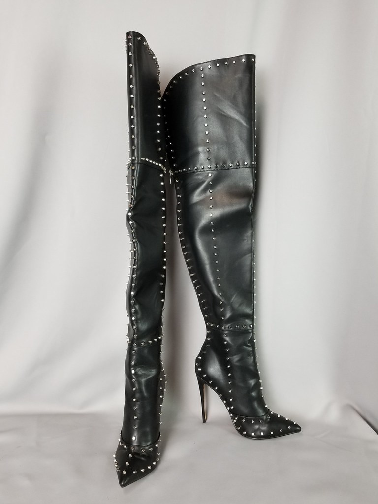 0944ce28d01b ... Fanta Productions Size 8 Black Giaro Studded Thigh Boots