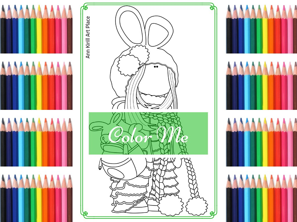 Color Me Girl Coloring Page Doll Digital Stamp Handmade