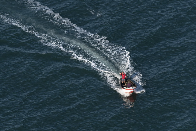 Fishermen in boat off Cromer - aerial