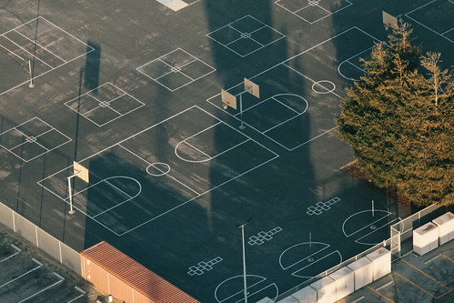 Basketball court shadows, from the air, August 2018