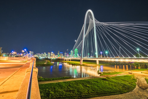 continentalavenuebridge dallas hdr margarethunthillbridge nikon nikond5300 outdoor ronaldkirkpedestrianbridge texas trinityriver architecture bridge bridges city cityscape downtown geotagged grass light lights longexposure moon night reflection reflections river sky skyline skyscraper skyscrapers starburst urban water star stars nightsky