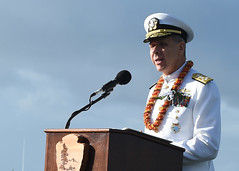 Adm. Phil Davidson, commander of U.S. Indo-Pacific Command, speaks during the National Pearl Harbor Remembrance Day 77th Anniversary Commemoration. (U.S. Navy/MC1 Randi Brown)