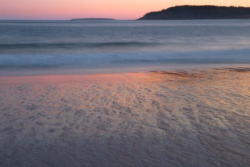 acadia acadianationalpark beach sand reflection pink sunset shore ocean coast maine atlantic island shine longexposure soft waves sea sandbeach evening twilight