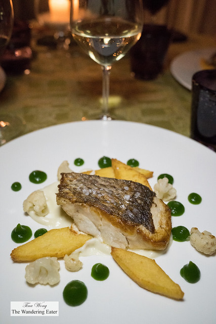 Roasted dentex (a white fleshed fish), cauliflower cream, chickpeas fritters and coriander