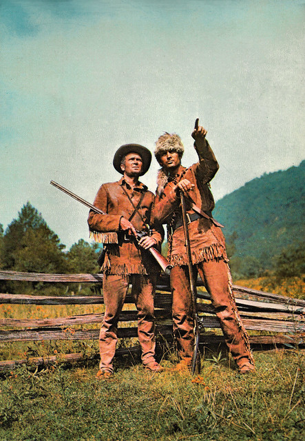 Fess Parker and Buddy Ebsen in Davy Crockett - King of the Wild Frontier (1955)