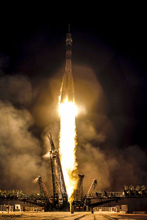 The Soyuz TMA-20 rocket launches from the Baikonur Cosmodrome in Kazakhstan on Thursday, December 16, 2010. Original from NASA. Digitally enhanced by rawpixel.