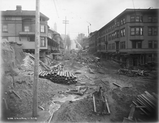 Regrading work at 6th and Columbia, 1914