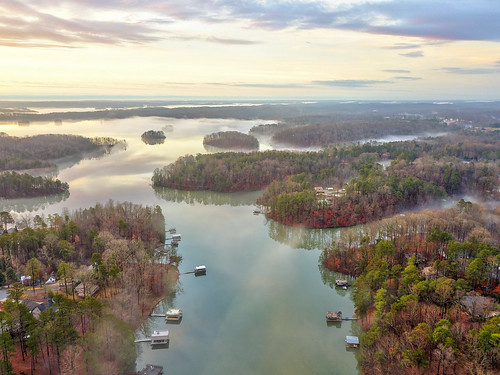 ronmayhew djimavicpro lakelanier harriscreek aerial sunrise water lake cloud sky dock fog