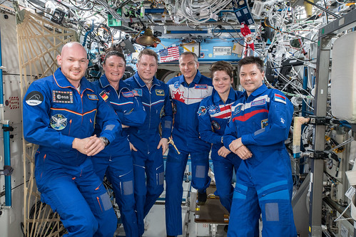 The six-member Expedition 57 crew | by NASA Johnson