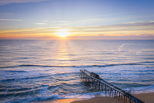 belmar fishing pier new jersey nj aerial sunrise sunset beautiful sun rays water ocean seascape sea morning early mavic pro 2 drone