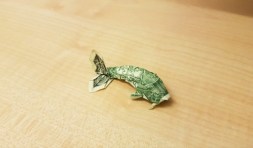 Dollar koi fish designed by Won Park, folded by me | by Tomasz Krawczyk Origami