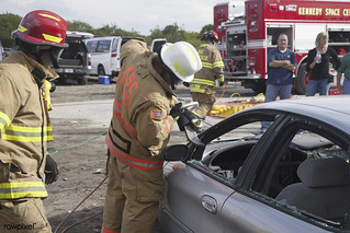 Special Rescue Operations firefighters with NASA Fire Rescue Services at NASA's Kennedy Space Center near Cape Canaveral Air Force Station in Florida practice vehicle extrication training at an auto salvage yard near the center. Original from NASA. D