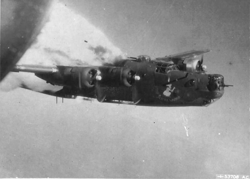 Burning B-24 Liberator