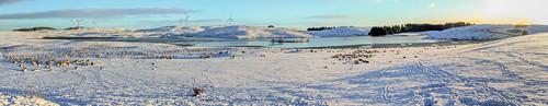eastrenfrewshire neilston winter reservoir landscape walking scotland panorama harelawdam windturbine snow