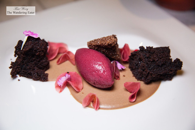 Beets, chocolate cream, aerated chocolate, beet sherbet