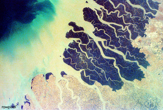 Parts of the vast Ganges delta, in fact the world's largest, lie in both Bangladesh and the State of West Bengal, India. Original from NASA. Digitally enhanced by rawpixel.