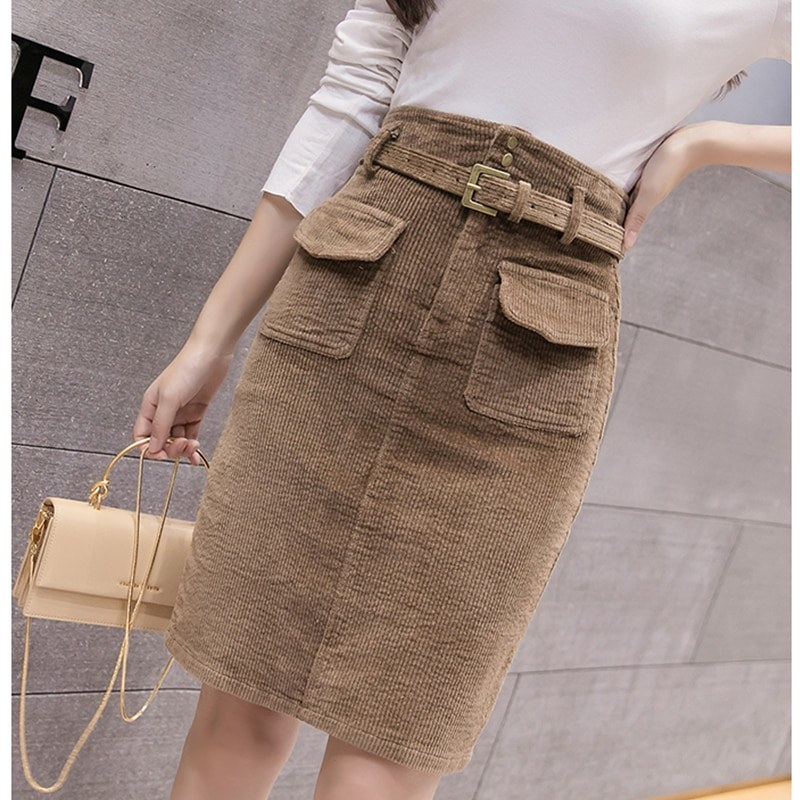 95806d8d3165f4 ... US $15.68 5% OFF|woman solid corduroy skirt office lady style knee  length sashes