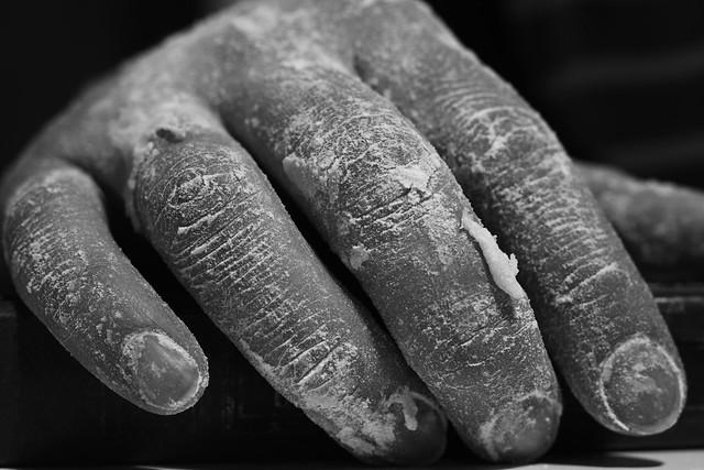 Floured hand