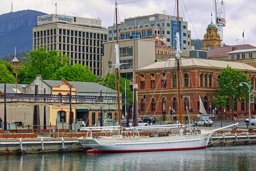 ship boat sail tallship dock port harbour buildings architecture landscape mountain