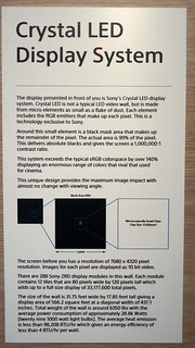 "Sony ""Crystal Laser"" screen info 