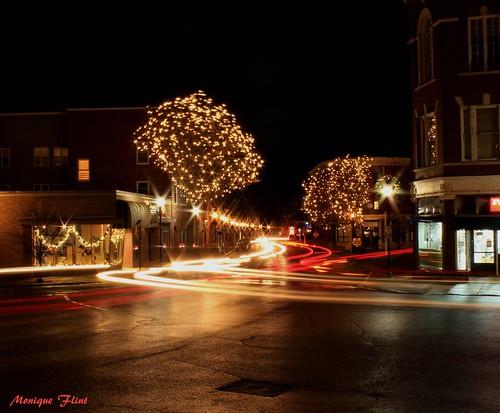 lights lighttrails holidays christmas christmaslights city cityscape citylife street night road landscape dark trees streetlight weatherphotography rainy