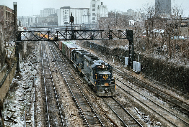 B&O GP40 #3776 leads at Akron -- March 76