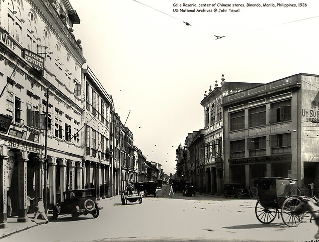 Calle Rosario, center of Chinese stores, Binondo, Manila, Philippines, 1926