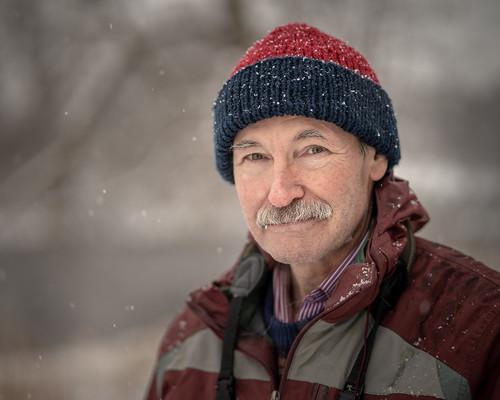 stranger street portrait winter encounter moustache birder napanee ontario canada project strangerproject natural naturallight snowing snow