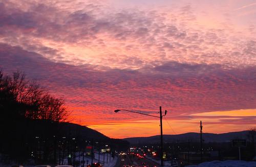 vestal newyork susquehannarivervalley appalachianmountains winter evening eveninglight sunset settingsun sunsetclouds