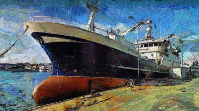 Dockside Oil Painting