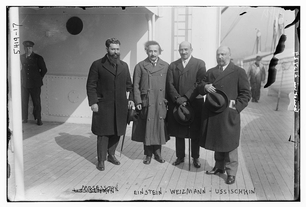 Mossessohn, [Albert] Einstein, [Chaim] Weizmann and Ussischkin [Ussishkin] (LOC)