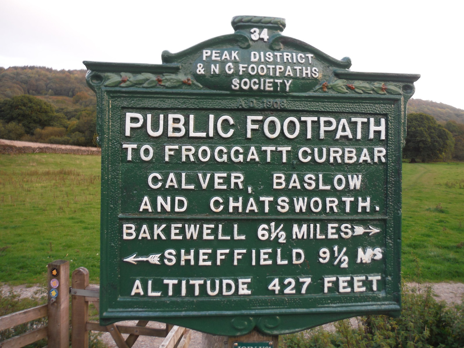 Footpath Sign, Grindleford Bridge SWC Walk 322 - Grindleford Circular (via Chatsworth House)