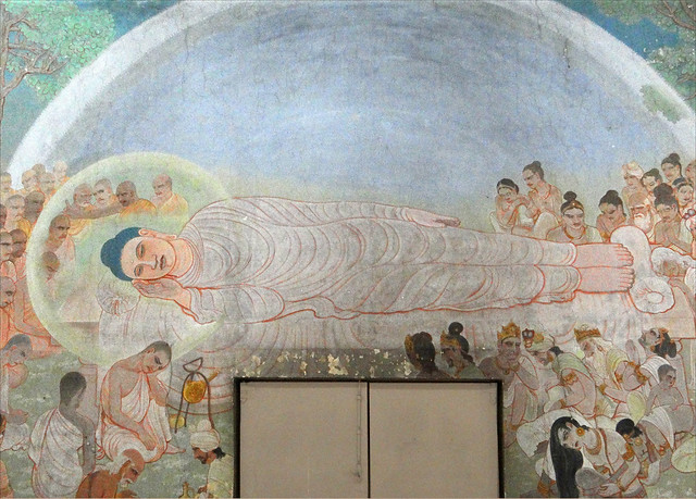 La mort du Bouddha (Temple Mulagandhakuti Vihāra, Sârnâth, Inde)